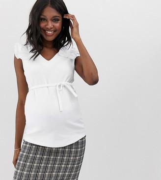 Mama Licious Mama.Licious Mamalicious maternity ruffle shoulder top-White