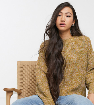 Monki Abi ribbed high neck jumper in mustard-Yellow