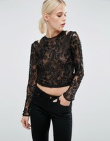 Asos Top With High Neck And Cold Shoulder With Beaded Embellishment