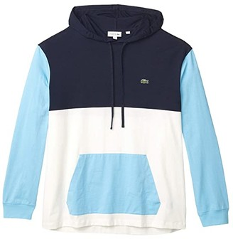Lacoste Long Sleeve Hooded Tee Color-Block Design Kangaroo Pocket (Flour/Navy Blue/Barbeau Blue) Men's Clothing