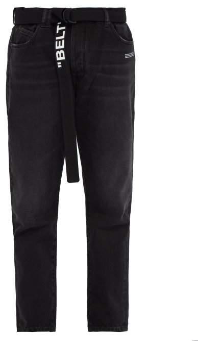 Off-White Off White Logo Tapered Leg Jeans - Mens - Black