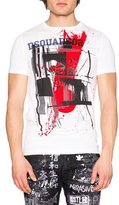 DSQUARED2 Abstract-Print Short-Sleeve Graphic Tee, White