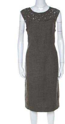 Escada Olive Green Tweed Embellished Delrose Sleeveless Dress M