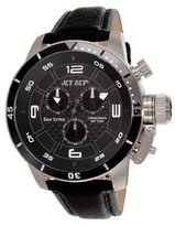 Jet Set J 91101-230 San Remo's Watch Quartz Chronograph Black Dial Black Leather Strap