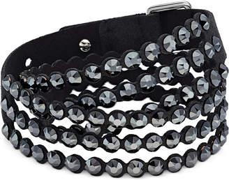 Swarovski Silver-Tone Crystal & Fabric Wrap Bracelet
