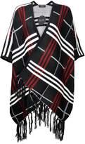 ZLYC Women Fashion Plaided Pattern Blanket Wrap Open Front Fringe Poncho