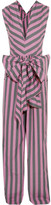 Tome Bow-detailed Striped Cotton-poplin Jumpsuit - Pink