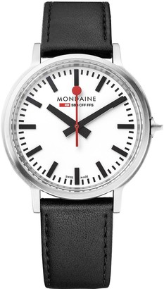Mondaine Swiss Made Stop2Go White Sapphire Glass Dial with Backlight and Stainless Steel Brushed 41mm Case Dial Black Leather Strap Watch