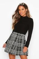 boohoo Petite flannel Box Pleat Skater Skirt