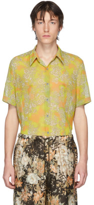 Dries Van Noten Yellow and Orange Floral Short Sleeve Shirt