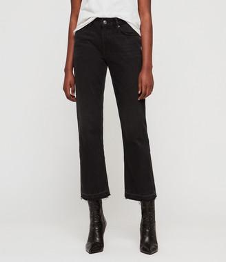 AllSaints Ava Straight High-Rise TY Jeans, Black