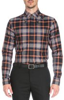 Givenchy Plaid with Star-Print Woven Shirt, Orange
