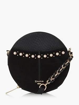 Dune Edania Pearl Trim Circle Cross Body Bag, Black