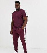 Asos Design DESIGN Plus t-shirt with side panel stripe in burgundy