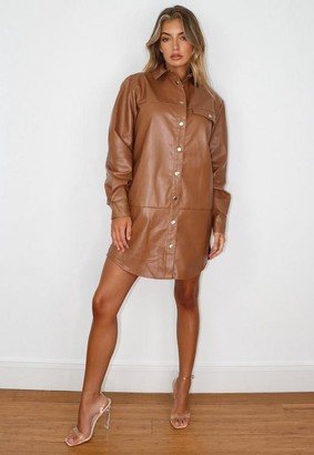 Missguided Brown Faux Leather Panel Oversized Shirt Dress