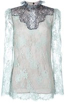 Lanvin lace sheer top - women - Viscose/Polyamide/Silk - 36