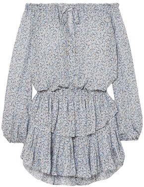 LoveShackFancy Popover Off-the-shoulder Ruffled Floral-print Silk-georgette Dress
