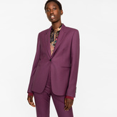 Paul Smith A Suit To Travel In - Women's Burgundy Puppytooth One-Button Wool Blazer