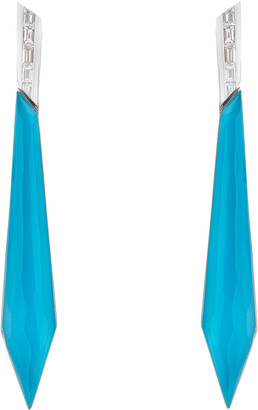 Stephen Webster CH2 Stiletto Earrings in 18K White Gold and Dark Turquoise