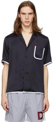 Daniel W. Fletcher Navy Contrast Binding Pyjama Shirt