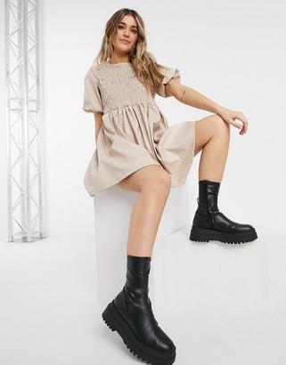 ASOS DESIGN leather-look short-sleeved shirred smock mini dress in camel