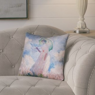 "August Grove Elwyn Watercolor Woman with Parasol Waterproof Outdoor Throw Pillow Size: 16"" x 16"""