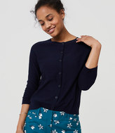 LOFT Textured 3/4 Sleeve Cotton Cardigan