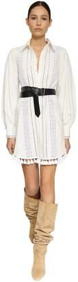 Eyelet Lace Poplin Mini Shirt Dress