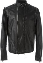 Diesel Black Gold lace-up detail leather jacket