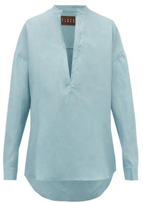 ALBUS LUMEN Alois Oversized Linen Shirt - Womens - Light Blue