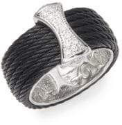 Alor Cable 18K White Gold & Sterling Silver Diamond Band Ring