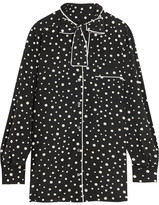 Dolce & Gabbana Pussy-bow Polka-dot Stretch-silk Crepe De Chine Blouse - Black