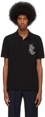 Alexander McQueen Black Embroidered Logo Polo