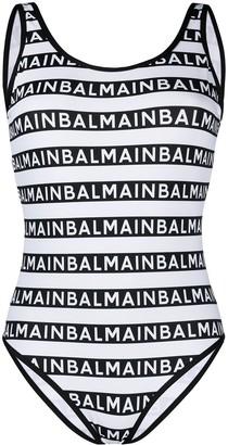 Balmain Logo Pattern Swimsuit