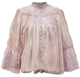 Mimi Prober - Bronte Lace-trimmed Cotton-voile Blouse - Pink