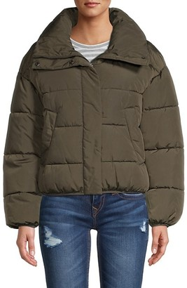 DKNY Logo Patch Short Puffer Jacket