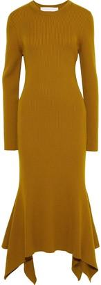Victoria Beckham Asymmetric Ribbed Wool Midi Dress