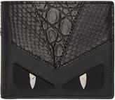 Fendi Black Snakeskin bag Bugs Wallet