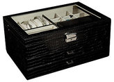 "Mele Alana"" Glass Top Jewelry Box in Black Faux Croco"