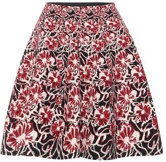 Alaia Floral stretch-wool miniskirt