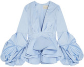 Johanna Ortiz - St. Barts Cotton-poplin Peplum Top - Light blue