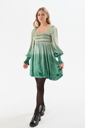 Urban Outfitters Isobel Smocked Velvet Mini Dress
