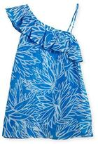 Milly Minis Blue Lotus Ruffle-Shoulder Coverup, Blue/Orange, Size 10-16