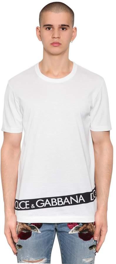 Dolce & Gabbana Logo Tape Printed Cotton Jersey T-Shirt