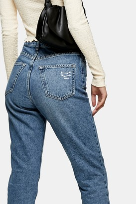 Topshop Womens Mid Blue Horoscope Gemini Mom Tapered Jeans - Mid Stone
