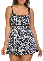 Longitude Scroll-Print Empire Swimdress
