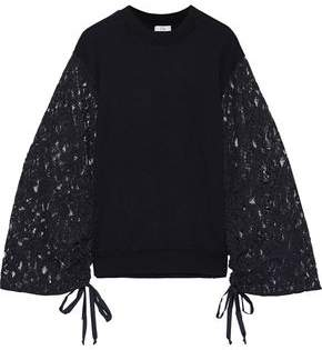 Clu Corded Lace-paneled French Terry Top