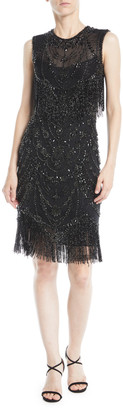 Naeem Khan Jewel-Neck Sleeveless Body-Con Beaded Cocktail Dress