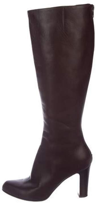 bc10640e3a4 Leather Knee-High Boots Brown Leather Knee-High Boots