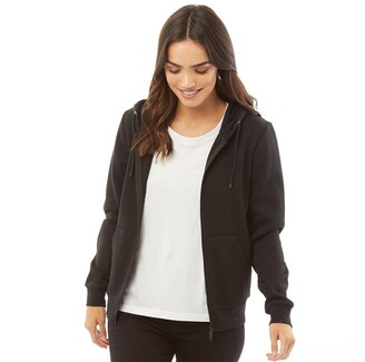 Fluid Womens Zip Through Hoodie Black